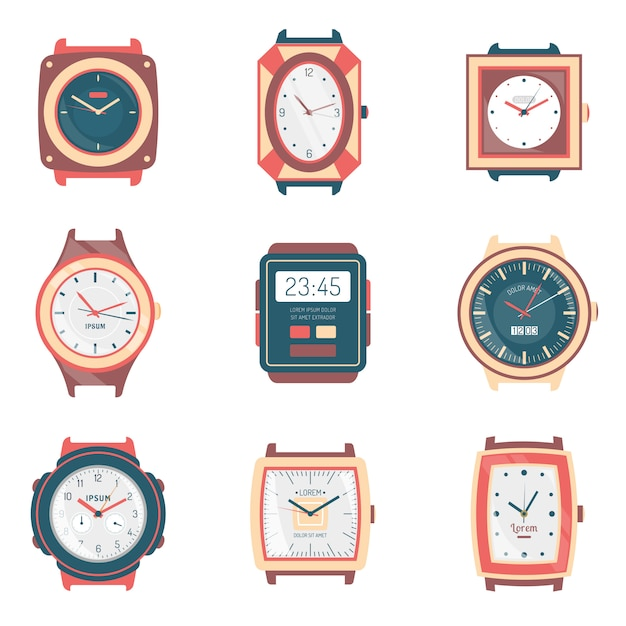 Different types watches flat icons collection Free Vector