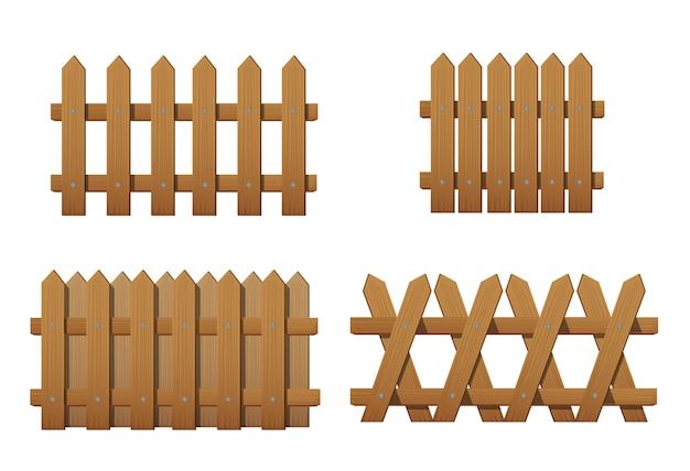 さまざまな種類の木製フェンス。白で隔離される庭のフェンスのセット Premiumベクター