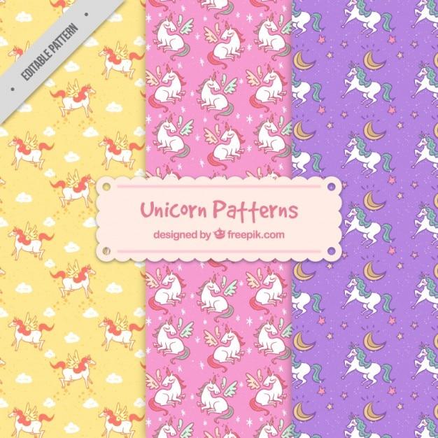 Different unicorn patterns Free Vector