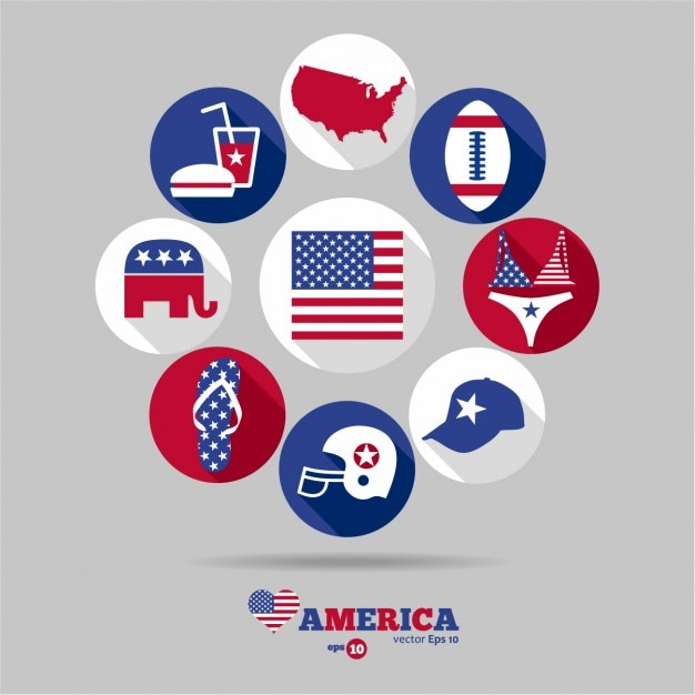 Different Usa Symbols Collection Vector Free Download