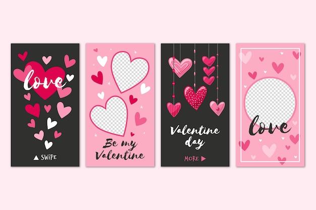 Набор разных историй на день святого валентина Premium векторы
