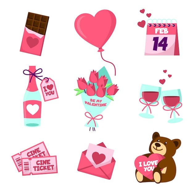 Different valentines day elements Free Vector