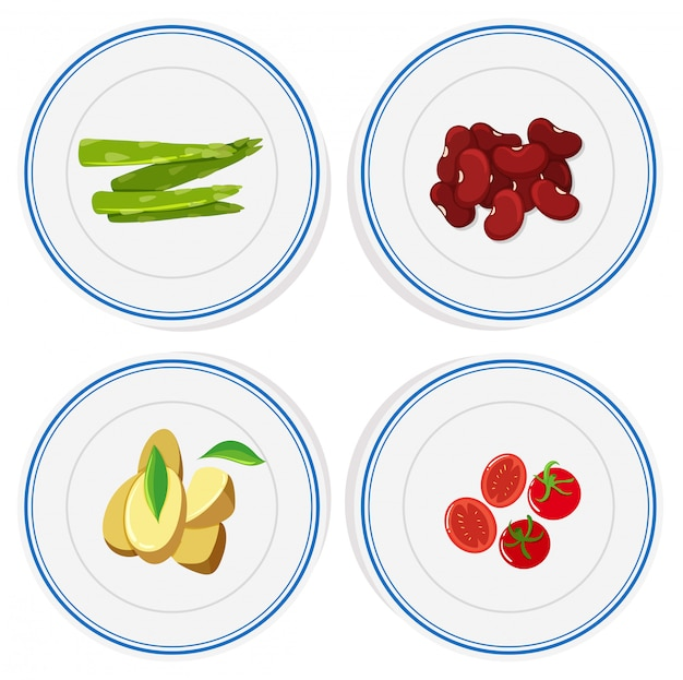 Different vegetables on round plates Free Vector