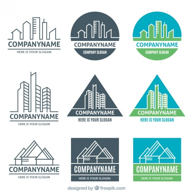 Different Versions Of Real Estate Logos Free Vector