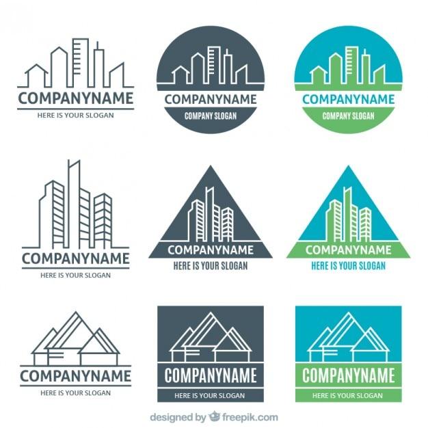 Different versions of real estate logos Premium Vector