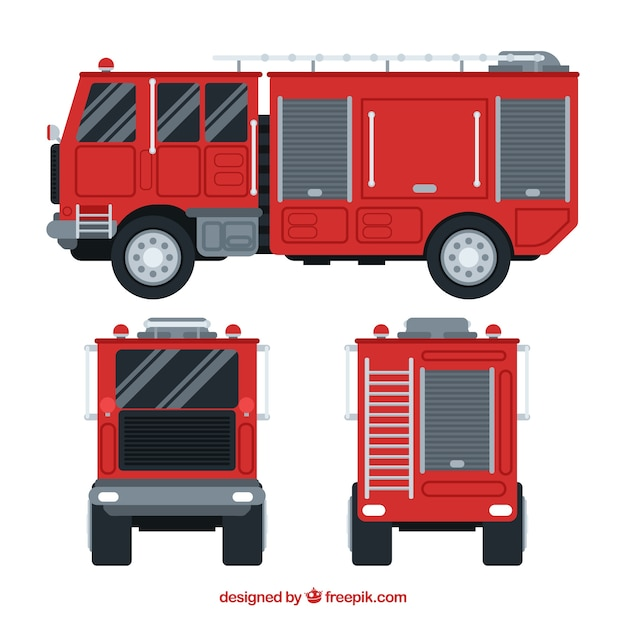 Different views of fire engine Free Vector