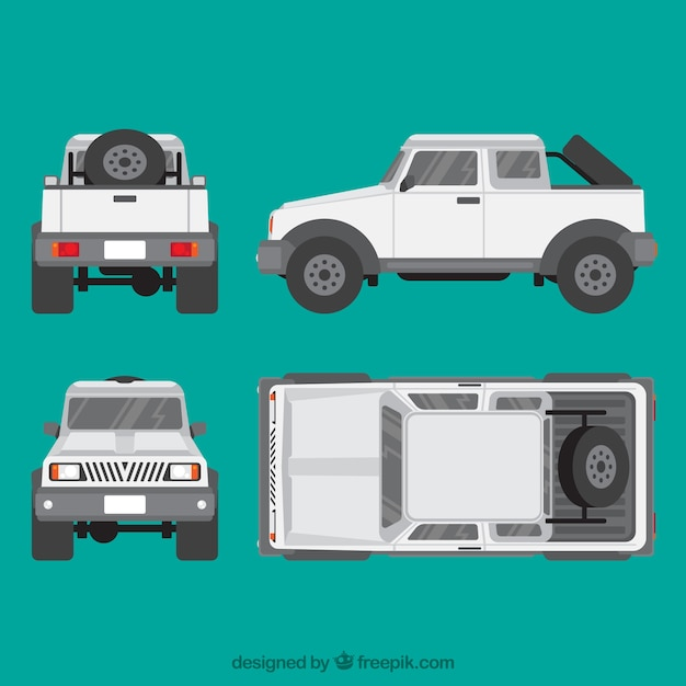 Different views of jeep Free Vector