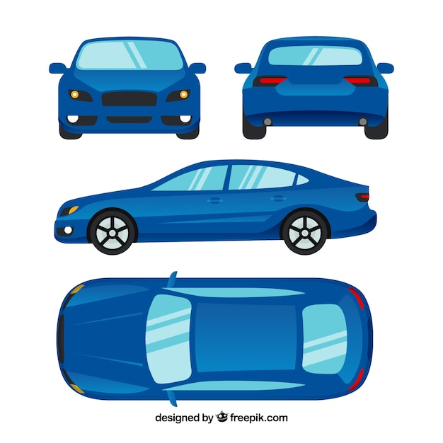 Different views of modern blue car Free Vector