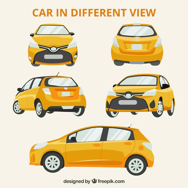 Different views of modern car Free Vector