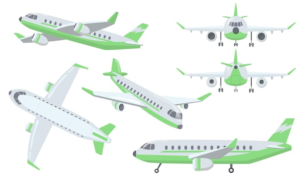 Набор различных видов самолета Бесплатные векторы