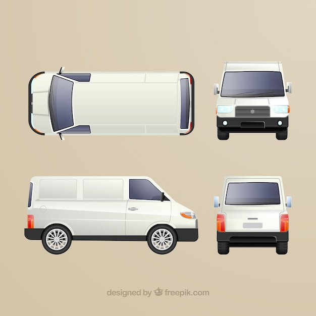 Different views of white van Free Vector