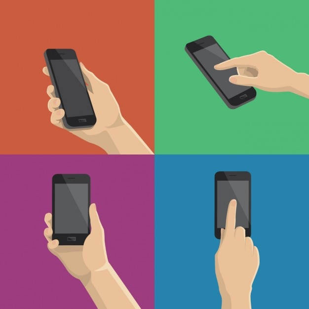 Different ways to use the smartphone Free Vector