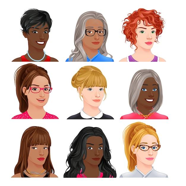 Различные женщина аватары вектор изолированных символов Бесплатные векторы