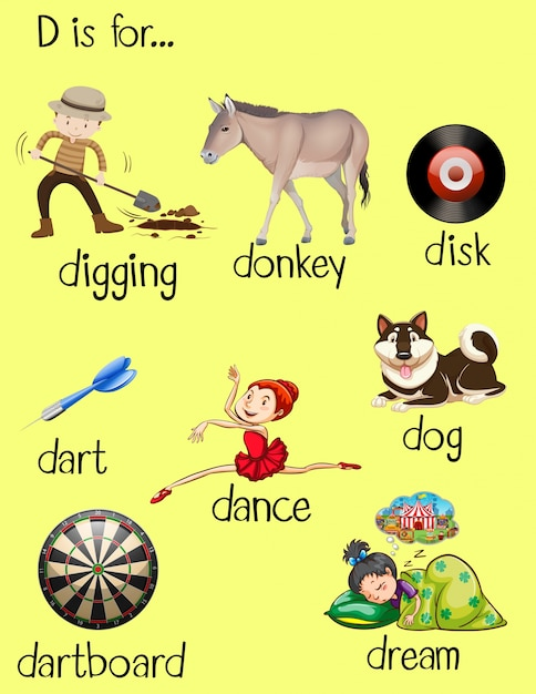 Different words for letter d Vector | Free Download