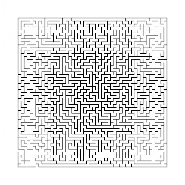 Difficult black and white maze Premium Vector