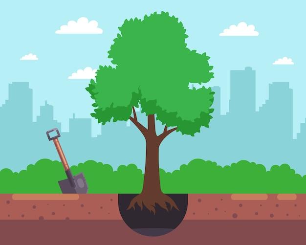 シャベルで穴を掘り、街の背景に木を植えます。図 Premiumベクター