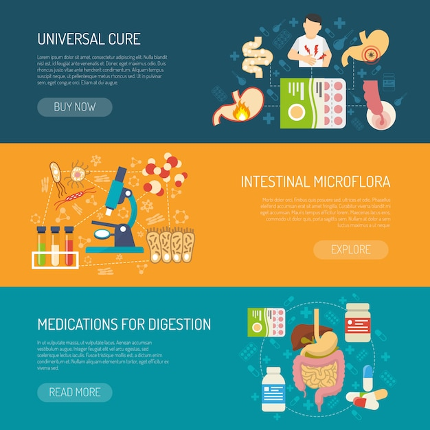 Digestion banners set Free Vector