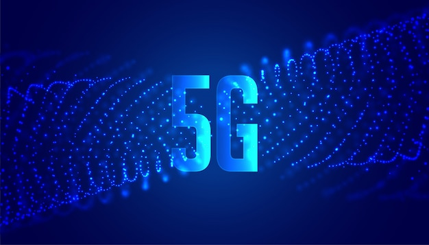 Digital 5g new wireless internet technology background with particles Free Vector