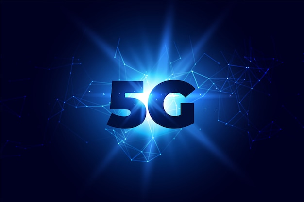 Digital 5g wireless communication network background Free Vector