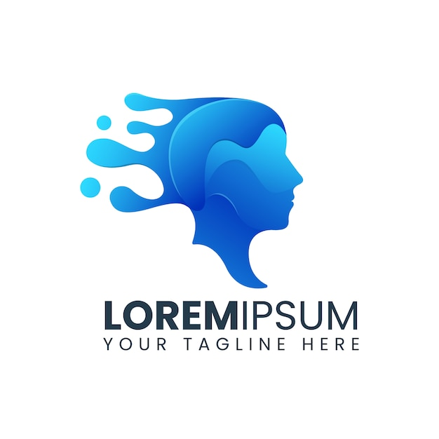 Digital abstract head of human logo. for technology, artificial intelligence concept Premium Vector