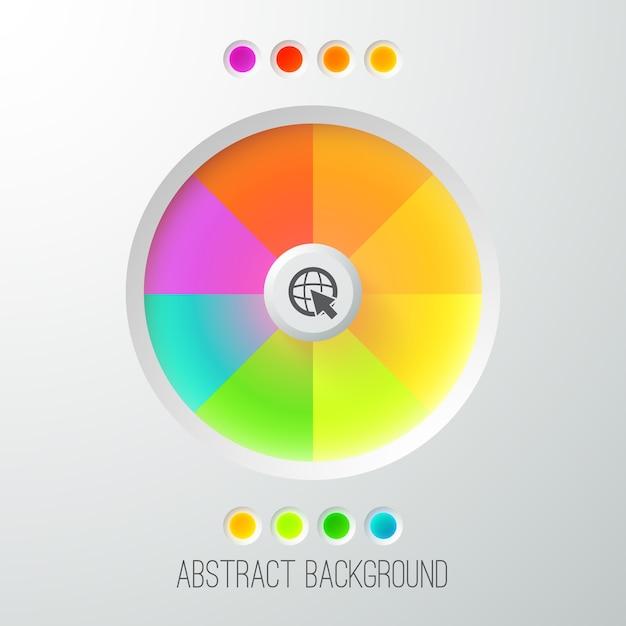 Modello web astratto digitale con pulsante luminoso colorato Vettore gratuito