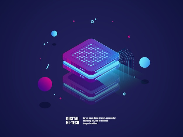 Digital advertising concept, hologram projection, presentation concept Free Vector