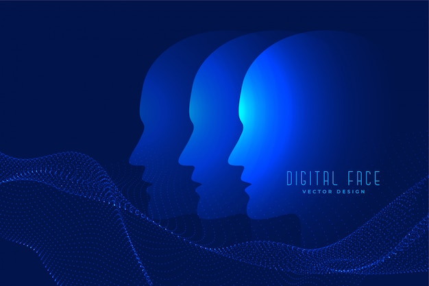 Digital ai face with particle face technology background Free Vector