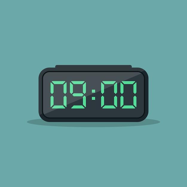 Digital alarm clock flat design  illustration Premium Vector
