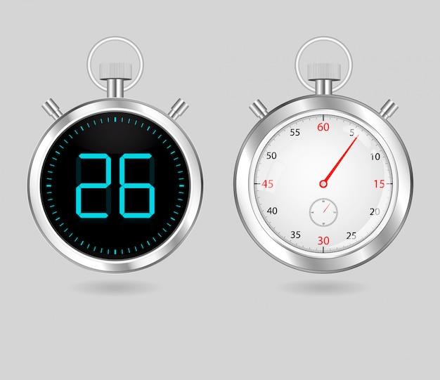 Digital and analog speedometers timers set Premium Vector