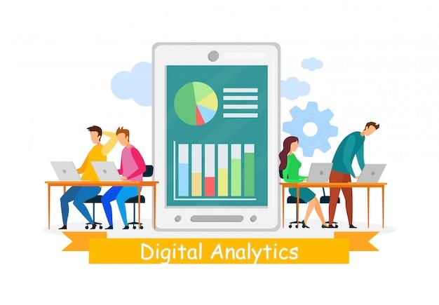 Digital analysts coworking vector illustration Premium Vector