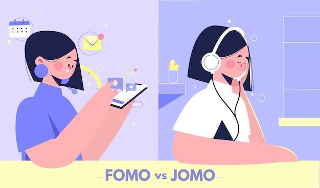 디지털 및 유기적 fomo 대 jomo 개념 무료 벡터