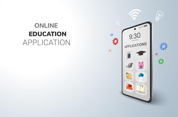 디지털 응용 프로그램 온라인 교육 개념 및 전화 빈 공간 무료 벡터