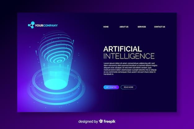 Digital artificial intelligence landing page Free Vector