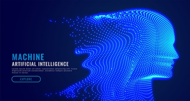 디지털 인공 지능 입자 얼굴 무료 벡터