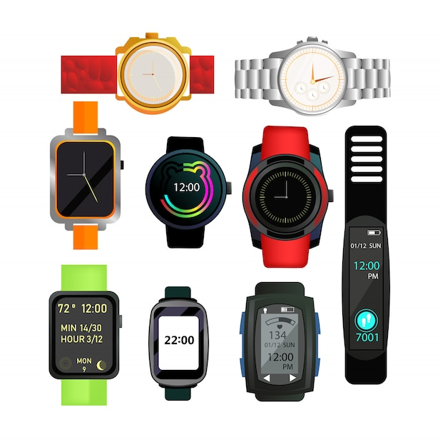 Digital and automatic watches set Free Vector