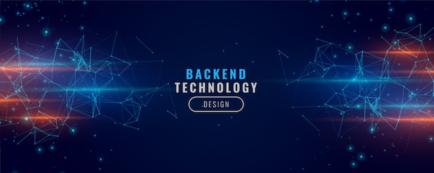 Digital backend banner technology concept particle background design Free Vector