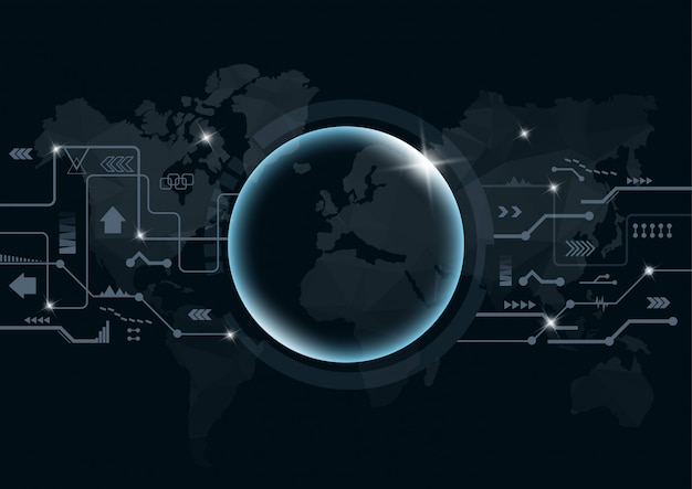 Digital background with point global network connection on world. Premium Vector