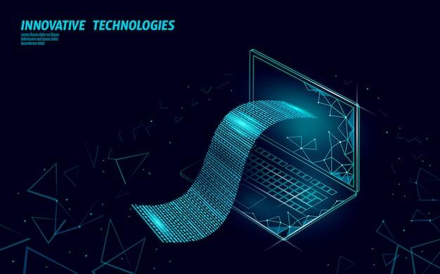 디지털 빌 3d 웹 뱅킹 개념입니다. 다각형 포인트 라인 온라인 쇼핑 티켓 결제 노트북. 금융 전자 기술 예산 배너 서식 파일 프리미엄 벡터
