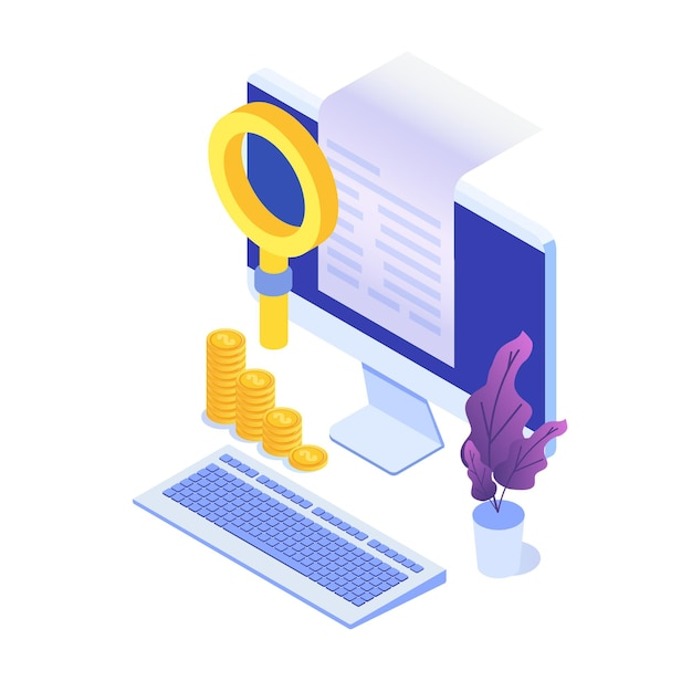 Digital bill, electronic receipt or invoice  illustration isometric. online shopping. Premium Vector
