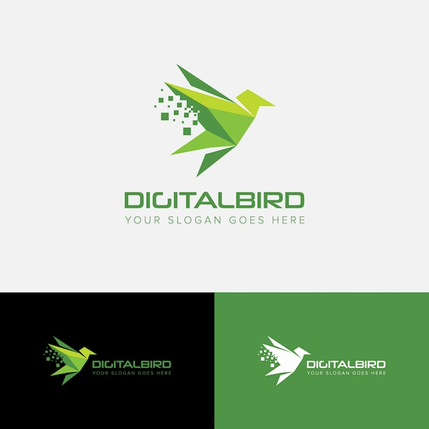Digital bird origami logo vector template Premium Vector