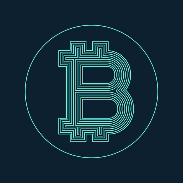 Digital Bitcoin Currency Symbol Vector Design Free