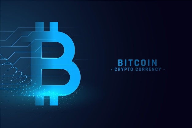 Digital bitcoin technology concept background Free Vector