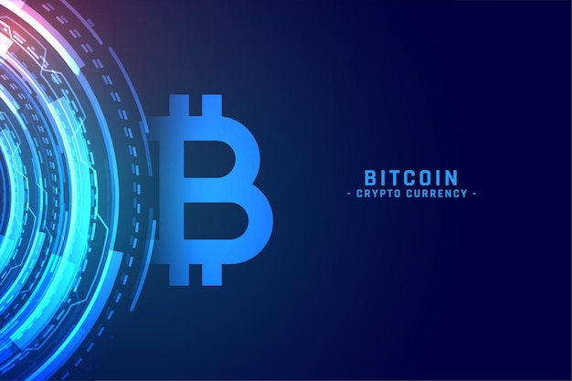 Digital bitcoin technology concept cryptocurrency background Free Vector