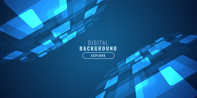 Digital blue technology background with perspective Free Vector