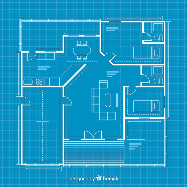 Digital blueprint house sketching Free Vector