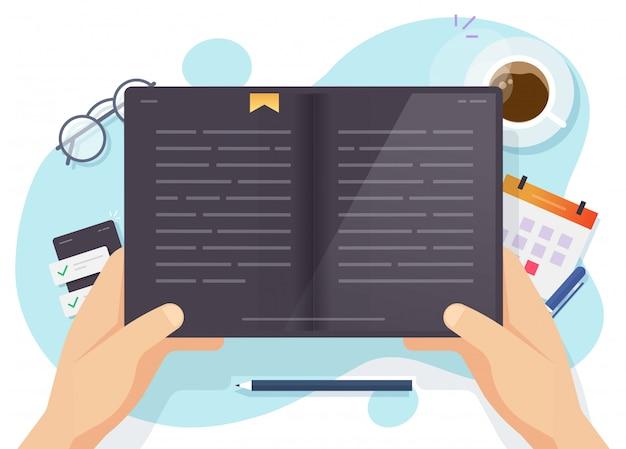 Цифровое чтение книг или электронное устройство чтения планшетного компьютера в руке человека вектор плоской иллюстрации шаржа, человек учится или изучать электронную книгу над рабочим столом Premium векторы