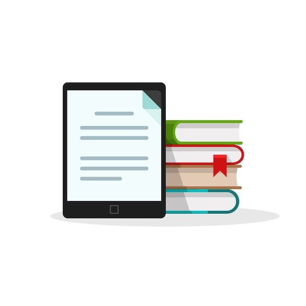 白い背景の上の電子書籍リーダーのデジタルブックライブラリ Premiumベクター