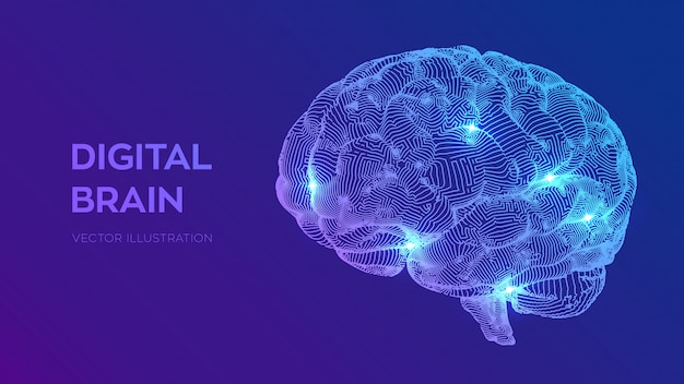 Digital brain  3d science and technology concept  neural network  iq