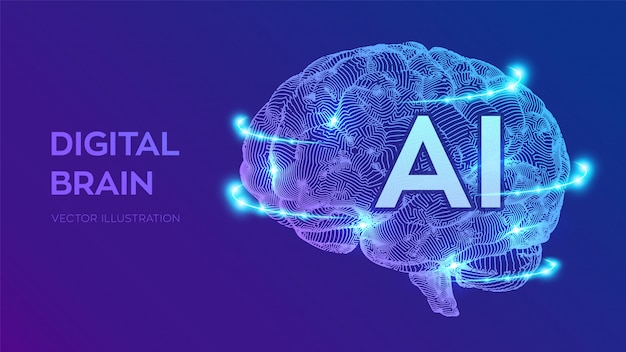 Digital brain. artificial intelligence virtual emulation science technology. Premium Vector