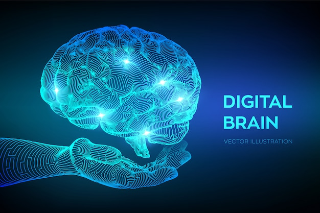Digital brain in hand. artificial intelligence virtual emulation science technology. Premium Vector